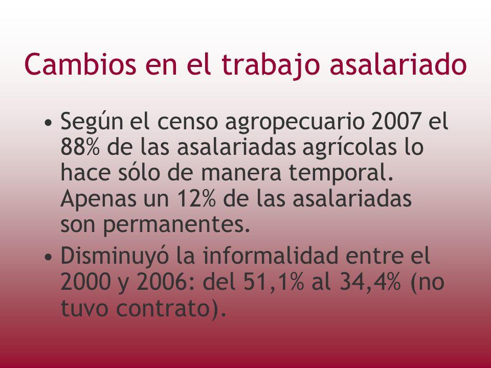Cambios en el trabajo asalariado Según el censo agropecuario 2007 el 88% de las asalariadas agrícolas lo hace sólo de manera temporal.