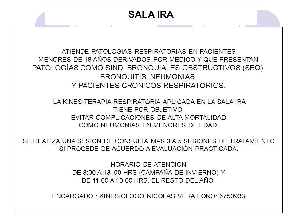 SALA IRA ATIENDE PATOLOGIAS RESPIRATORIAS EN PACIENTES MENORES DE 18 AÑOS DERIVADOS POR MEDICO Y QUE PRESENTAN PATOLOGÍAS COMO SIND. BRONQUIALES OBSTR