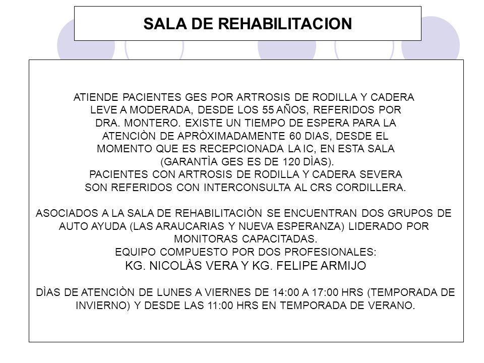 SALA DE REHABILITACION ATIENDE PACIENTES GES POR ARTROSIS DE RODILLA Y CADERA LEVE A MODERADA, DESDE LOS 55 AÑOS, REFERIDOS POR DRA. MONTERO. EXISTE U