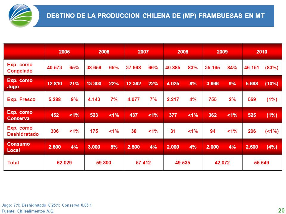 20 DESTINO DE LA PRODUCCION CHILENA DE (MP) FRAMBUESAS EN MT 2004 2005 2006 2007 2008 Total 50.254 62.029 59.800 57.412 49.535 Fuente: Chilealimentos