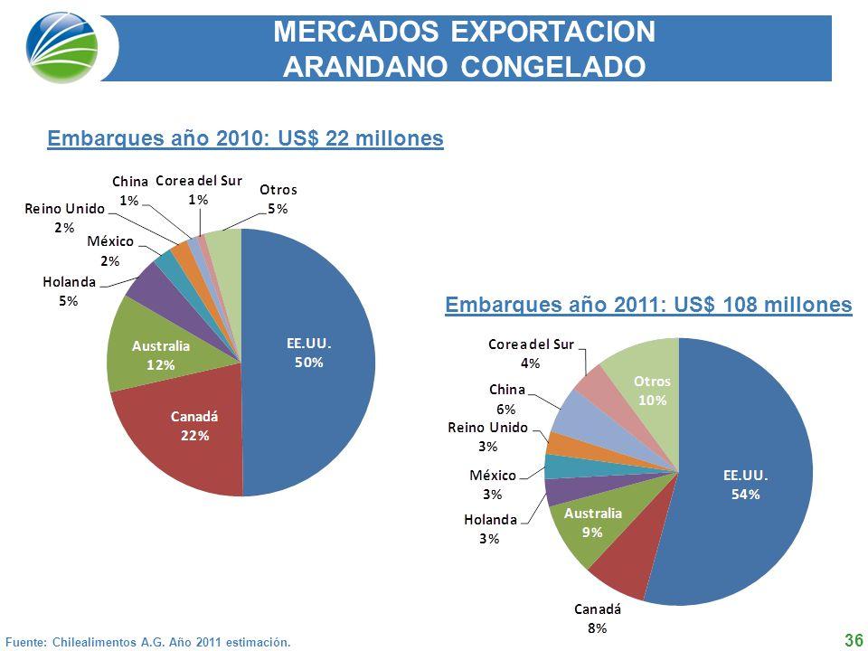 36 MERCADOS EXPORTACION ARANDANO CONGELADO Fuente: Chilealimentos A.G.