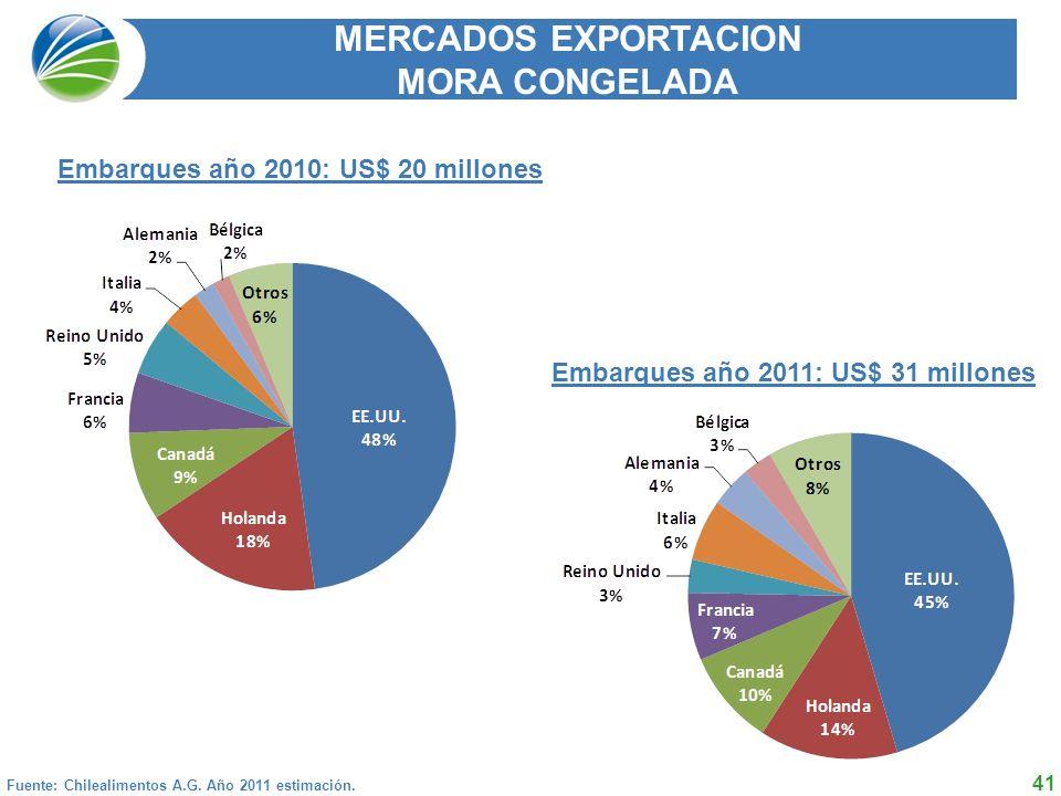 41 MERCADOS EXPORTACION MORA CONGELADA Fuente: Chilealimentos A.G.