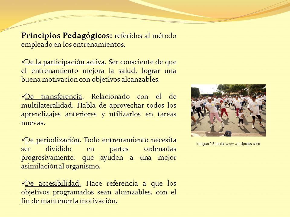 Principios Pedagógicos: referidos al método empleado en los entrenamientos. De la participación activa. Ser consciente de que el entrenamiento mejora