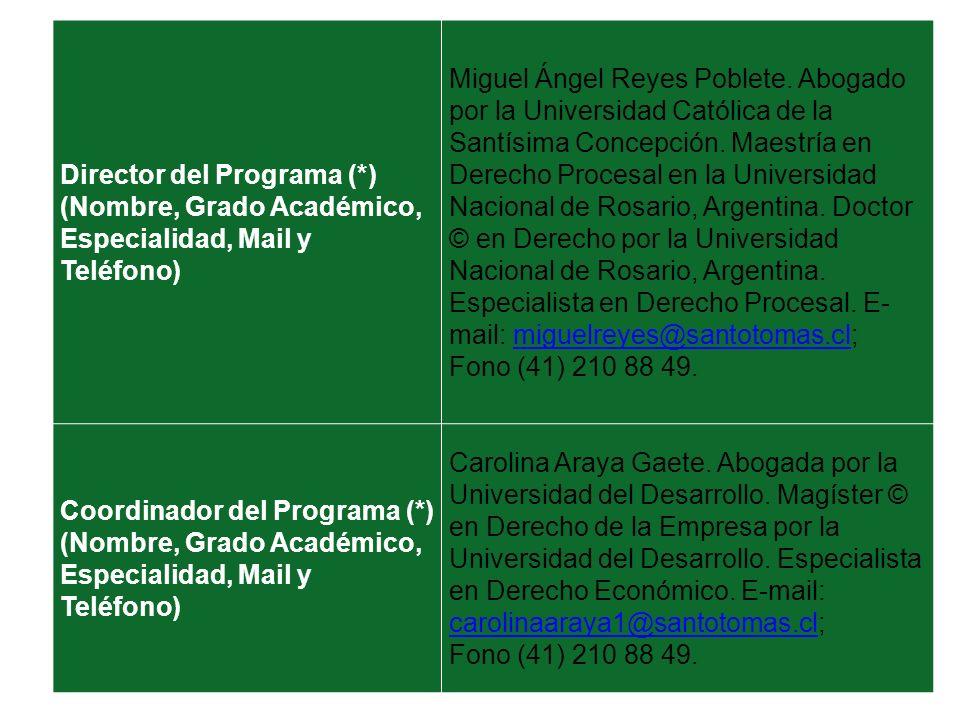 Director del Programa (*) (Nombre, Grado Académico, Especialidad, Mail y Teléfono) Miguel Ángel Reyes Poblete. Abogado por la Universidad Católica de