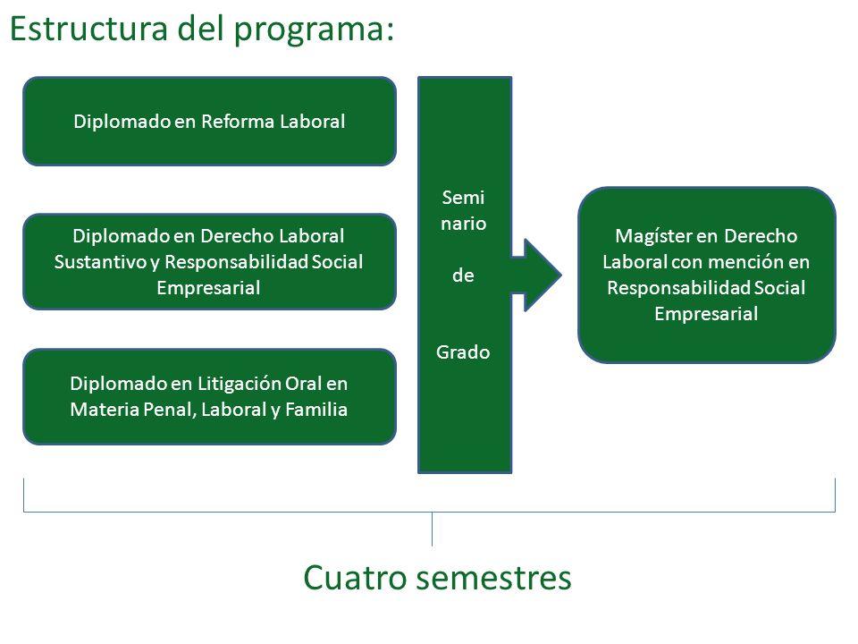 Estructura del programa: Cuatro semestres Diplomado en Reforma Laboral Diplomado en Derecho Laboral Sustantivo y Responsabilidad Social Empresarial Di