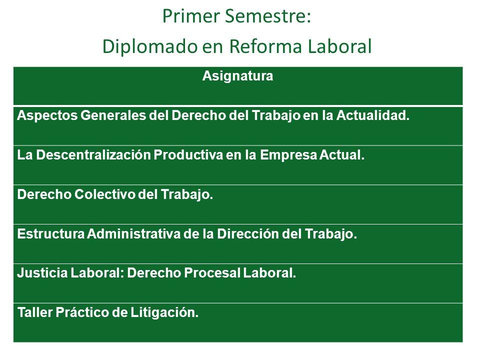 Primer Semestre: Diplomado en Reforma Laboral Asignatura Aspectos Generales del Derecho del Trabajo en la Actualidad. La Descentralización Productiva