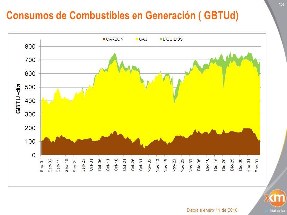 13 Consumos de Combustibles en Generación ( GBTUd) Datos a enero 11 de 2010