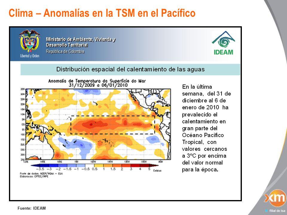 Clima – Anomalías en la TSM en el Pacífico Fuente: IDEAM