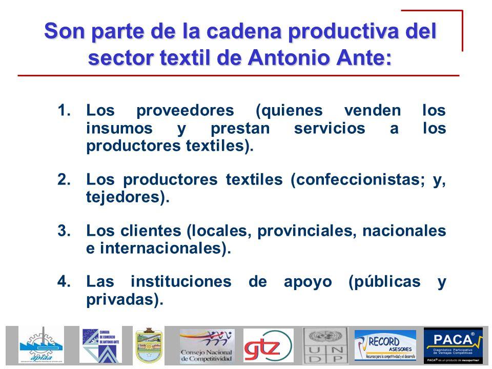 Son parte de la cadena productiva del sector textil de Antonio Ante: 1.Los proveedores (quienes venden los insumos y prestan servicios a los productor