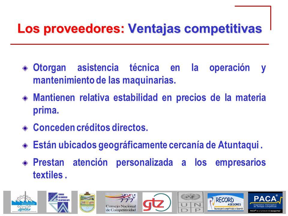 Los proveedores: Ventajas competitivas Otorgan asistencia técnica en la operación y mantenimiento de las maquinarias. Mantienen relativa estabilidad e