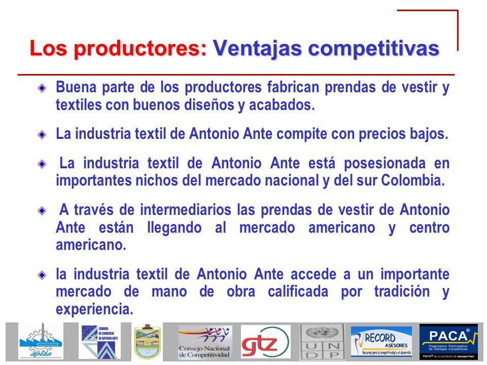 Los productores: Ventajas competitivas Buena parte de los productores fabrican prendas de vestir y textiles con buenos diseños y acabados. La industri