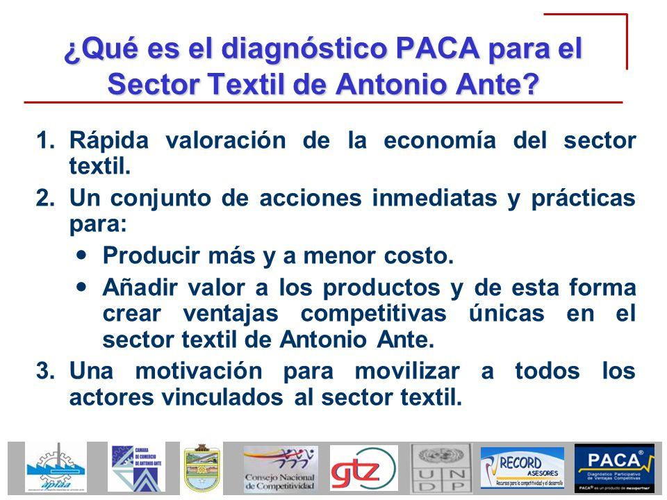 ¿Qué es el diagnóstico PACA para el Sector Textil de Antonio Ante? 1.Rápida valoración de la economía del sector textil. 2.Un conjunto de acciones inm