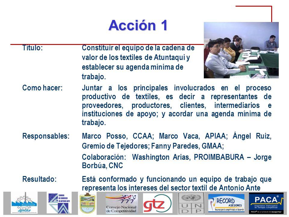 Acción 1 Como hacer: Juntar a los principales involucrados en el proceso productivo de textiles, es decir a representantes de proveedores, productores
