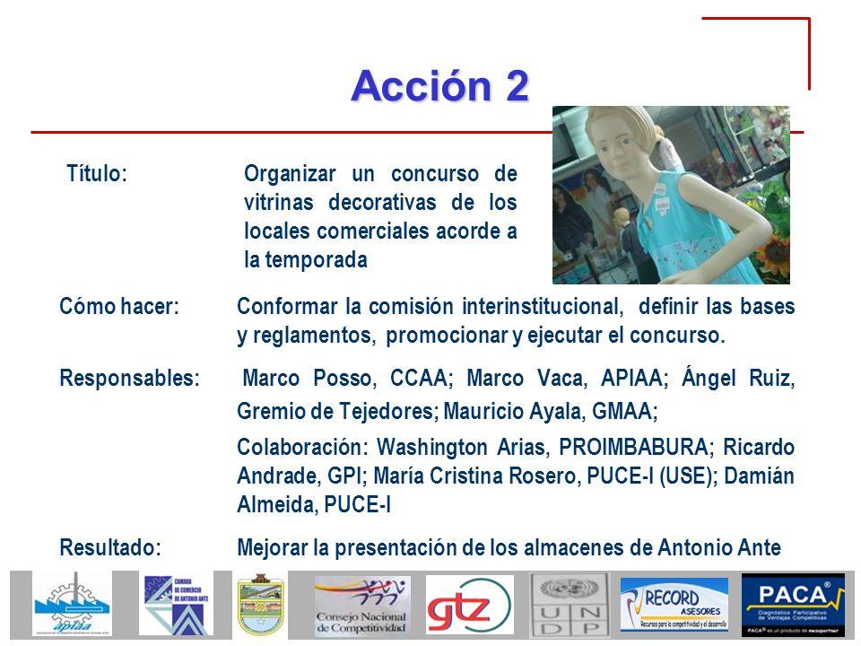 Acción 2 Cómo hacer:Conformar la comisión interinstitucional, definir las bases y reglamentos, promocionar y ejecutar el concurso. Responsables: Marco