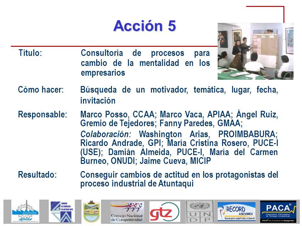 Acción 5 Título: Consultoría de procesos para cambio de la mentalidad en los empresarios Cómo hacer: Búsqueda de un motivador, temática, lugar, fecha,