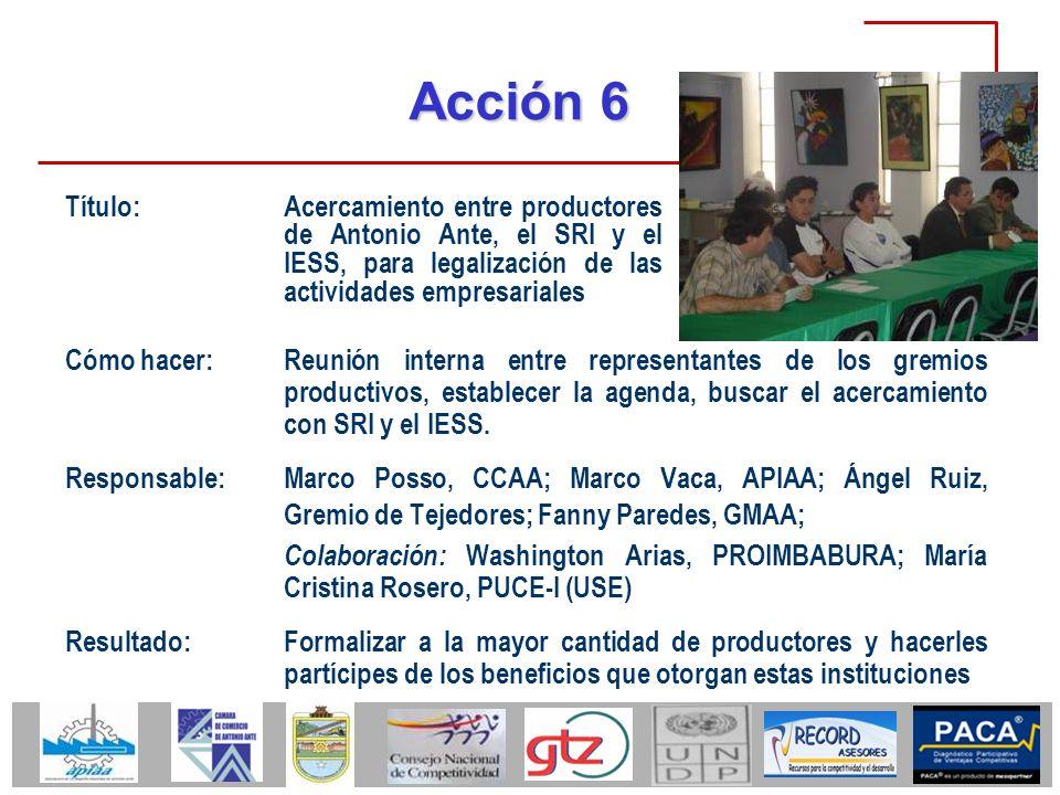 Acción 6 Cómo hacer:Reunión interna entre representantes de los gremios productivos, establecer la agenda, buscar el acercamiento con SRI y el IESS. R