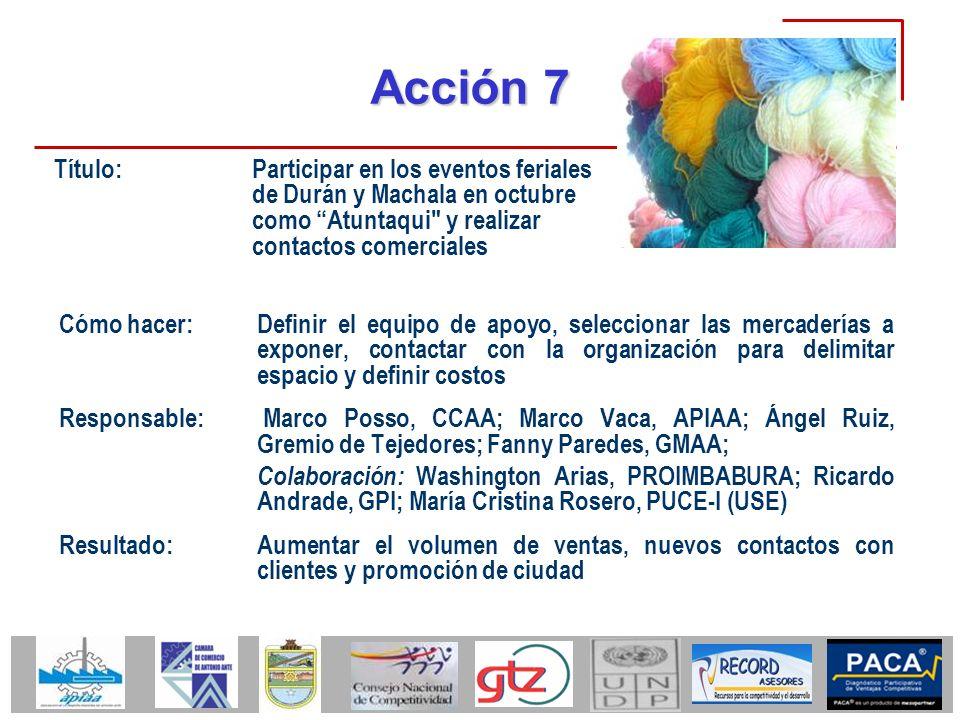 Acción 7 Cómo hacer:Definir el equipo de apoyo, seleccionar las mercaderías a exponer, contactar con la organización para delimitar espacio y definir