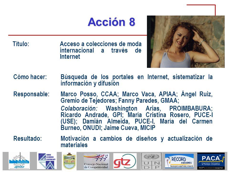 Acción 8 Cómo hacer:Búsqueda de los portales en Internet, sistematizar la información y difusión Responsable:Marco Posso, CCAA; Marco Vaca, APIAA; Áng