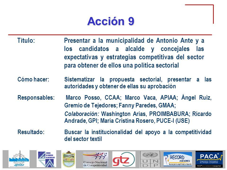 Acción 9 Cómo hacer:Sistematizar la propuesta sectorial, presentar a las autoridades y obtener de ellas su aprobación Responsables: Marco Posso, CCAA;