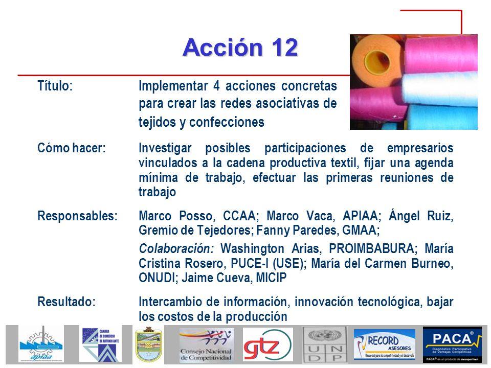 Acción 12 Cómo hacer:Investigar posibles participaciones de empresarios vinculados a la cadena productiva textil, fijar una agenda mínima de trabajo,