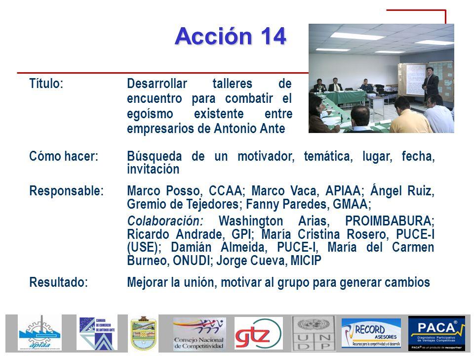 Acción 14 Título: Desarrollar talleres de encuentro para combatir el egoísmo existente entre empresarios de Antonio Ante Cómo hacer: Búsqueda de un mo