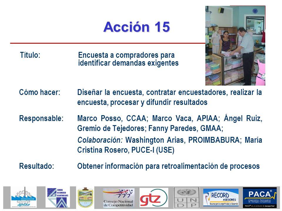 Acción 15 Cómo hacer:Diseñar la encuesta, contratar encuestadores, realizar la encuesta, procesar y difundir resultados Responsable:Marco Posso, CCAA;