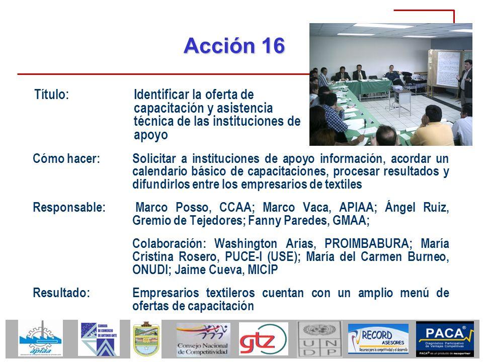 Acción 16 Cómo hacer:Solicitar a instituciones de apoyo información, acordar un calendario básico de capacitaciones, procesar resultados y difundirlos