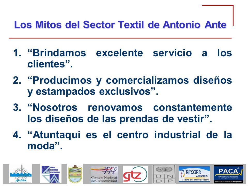 Los Mitos del Sector Textil de Antonio Ante 1.Brindamos excelente servicio a los clientes. 2.Producimos y comercializamos diseños y estampados exclusi