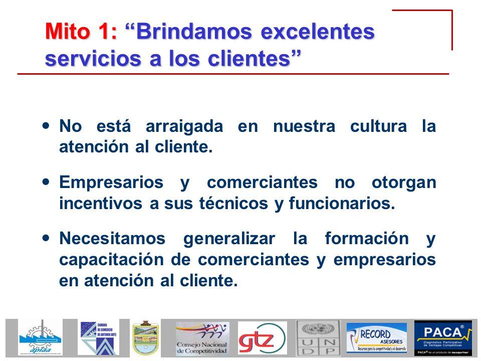 Mito 1: Brindamos excelentes servicios a los clientes No está arraigada en nuestra cultura la atención al cliente. Empresarios y comerciantes no otorg