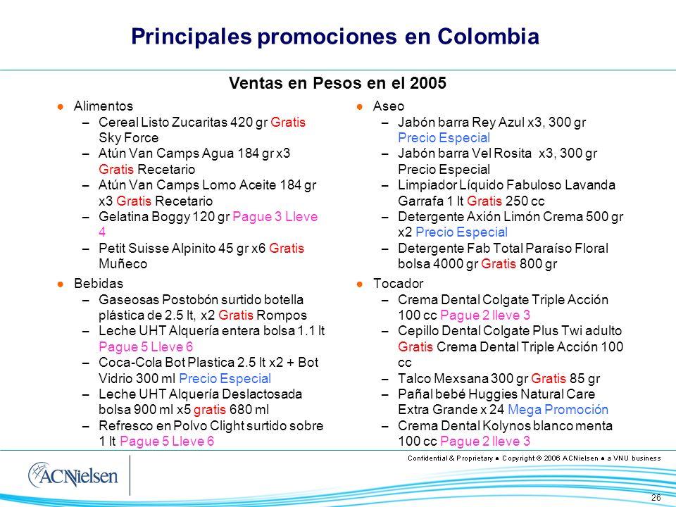 26 Principales promociones en Colombia Alimentos – Cereal Listo Zucaritas 420 gr Gratis Sky Force – Atún Van Camps Agua 184 gr x3 Gratis Recetario – A