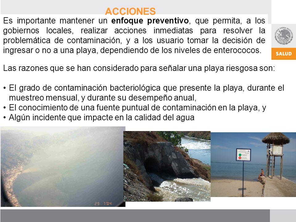 Es importante mantener un enfoque preventivo, que permita, a los gobiernos locales, realizar acciones inmediatas para resolver la problemática de contaminación, y a los usuario tomar la decisión de ingresar o no a una playa, dependiendo de los niveles de enterococos.