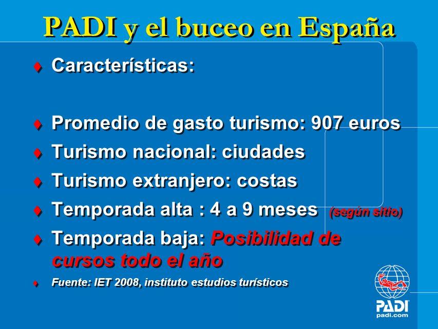 EL IMPACTO ECONÓMICO DEL BUCEO EN ESPAÑA Puntos clave PADI para el desarrollo del buceo: Trabajo durante todo el año.
