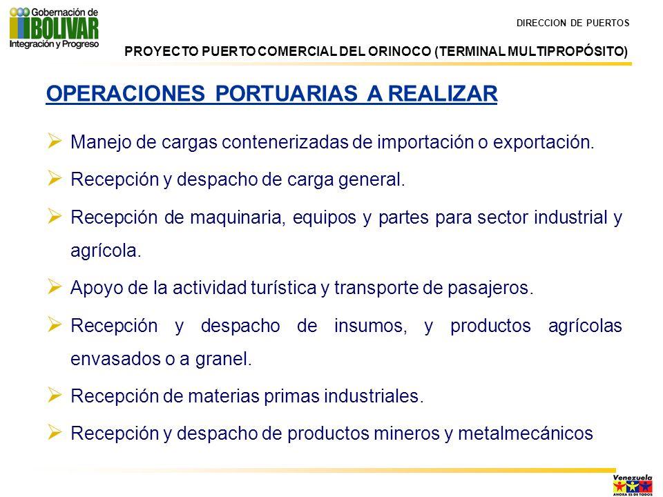 DIRECCION DE PUERTOS OPERACIONES PORTUARIAS A REALIZAR Manejo de cargas contenerizadas de importación o exportación. Recepción y despacho de carga gen
