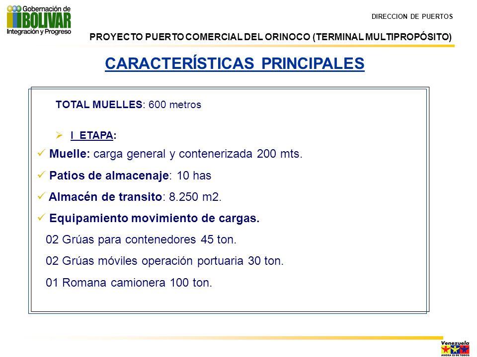 DIRECCION DE PUERTOS CARACTERÍSTICAS PRINCIPALES TOTAL MUELLES: 600 metros I ETAPA: Muelle: carga general y contenerizada 200 mts. Patios de almacenaj