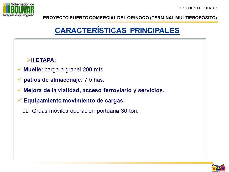 DIRECCION DE PUERTOS CARACTERÍSTICAS PRINCIPALES II ETAPA: Muelle: carga a granel 200 mts. patios de almacenaje: 7,5 has. Mejora de la vialidad, acces