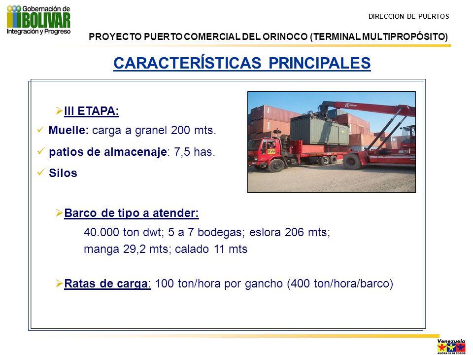 DIRECCION DE PUERTOS CARACTERÍSTICAS PRINCIPALES III ETAPA: Muelle: carga a granel 200 mts. patios de almacenaje: 7,5 has. Silos Barco de tipo a atend