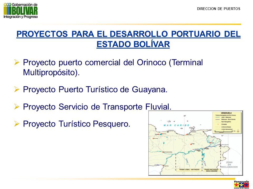 DIRECCION DE PUERTOS PROYECTOS PARA EL DESARROLLO PORTUARIO DEL ESTADO BOLÍVAR Proyecto puerto comercial del Orinoco (Terminal Multipropósito).