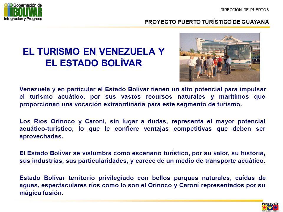 DIRECCION DE PUERTOS Venezuela y en particular el Estado Bolívar tienen un alto potencial para impulsar el turismo acuático, por sus vastos recursos n