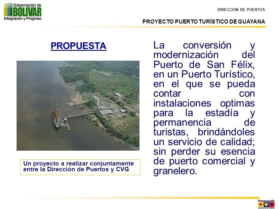 PROPUESTA Un proyecto a realizar conjuntamente entre la Dirección de Puertos y CVG DIRECCION DE PUERTOS PROYECTO PUERTO TURÍSTICO DE GUAYANA La conver