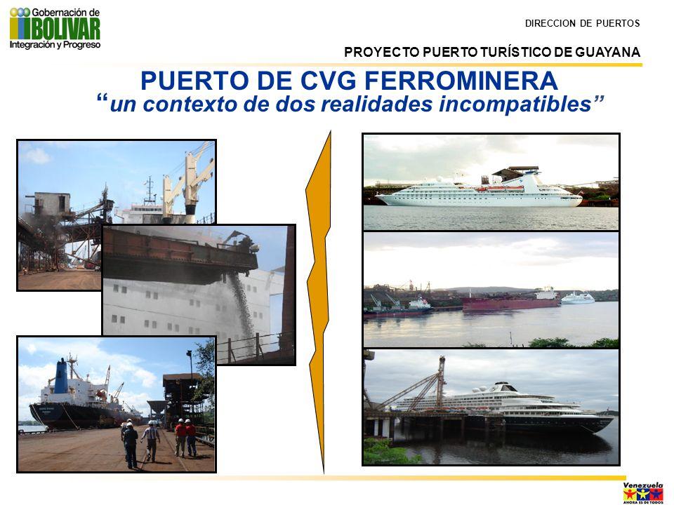 PUERTO DE CVG FERROMINERA un contexto de dos realidades incompatibles DIRECCION DE PUERTOS PROYECTO PUERTO TURÍSTICO DE GUAYANA