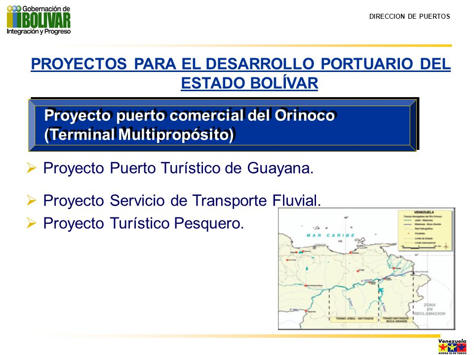 DIRECCION DE PUERTOS PROYECTO TURÍSTICO PESQUERO COMUNIDAD PESQUERAUBICACIÓNVOLUMEN DE PRODUCCIÓN LAS CALDERAS Milla 215 Población las Calderas Temporada alta: 5.000 Kg/semanal Temporada Baja: 500 Kg/semanal LA CARIOCA Milla 238 Paseo Orinoco Ciudad Bolívar Temporada alta: 20.000 Kg/semanal Temporada Baja: 7.000 Kg/semanal EL ALMACÉN Milla 263 Población del Almacén, Municipio Heres Temporada alta: variable (no presenta registros) Temporada Baja: 1.000 Kg/semanal MOITACO Milla 305 Población de Moitaco, Municipio Sucre Temporada alta: variable (no presenta registros) Temporada Baja: 1.000 Kg/semanal LOCALIDADES FAVORECIDAS CON EL PROYECTO PESQUERO