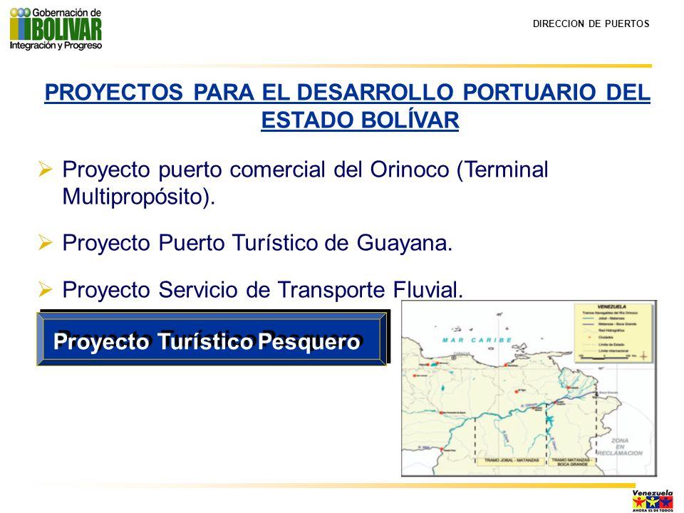 DIRECCION DE PUERTOS PROYECTOS PARA EL DESARROLLO PORTUARIO DEL ESTADO BOLÍVAR Proyecto puerto comercial del Orinoco (Terminal Multipropósito). Proyec