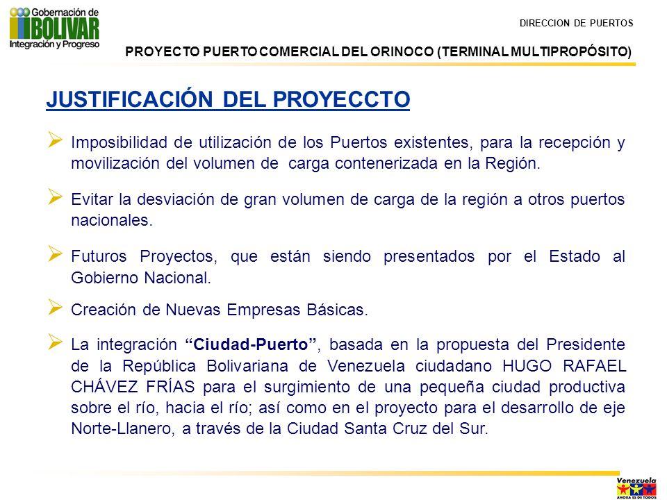 DIRECCION DE PUERTOS JUSTIFICACIÓN DEL PROYECCTO Imposibilidad de utilización de los Puertos existentes, para la recepción y movilización del volumen