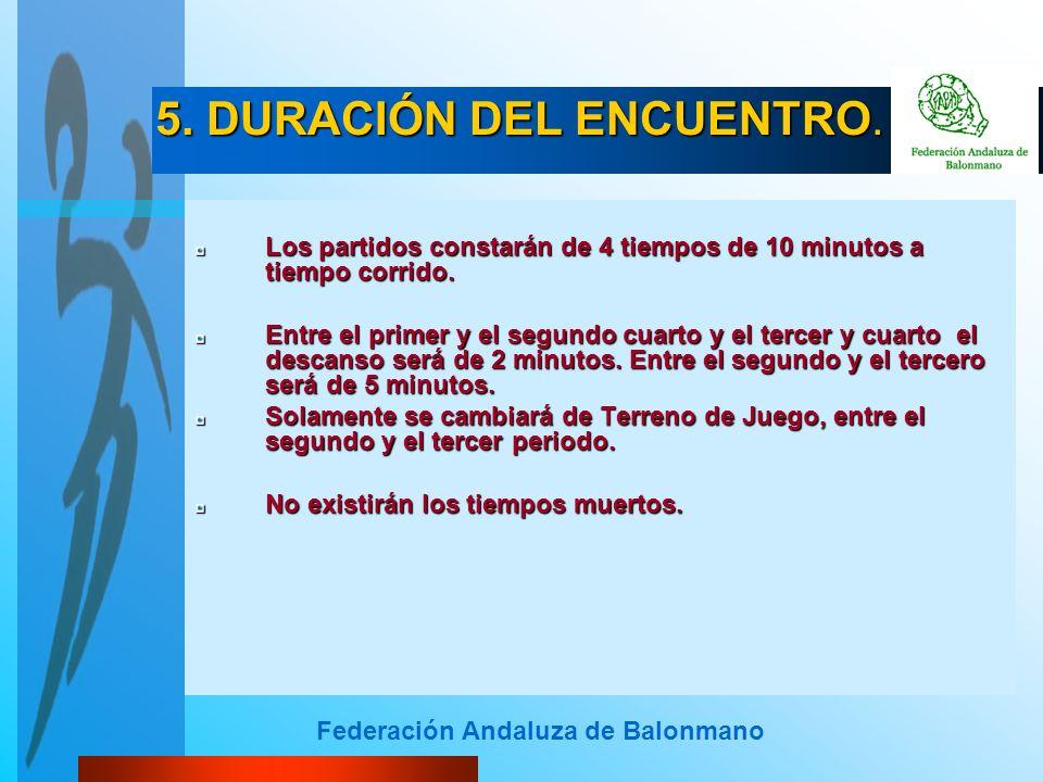 Federación Andaluza de Balonmano Los partidos constarán de 4 tiempos de 10 minutos a tiempo corrido. Entre el primer y el segundo cuarto y el tercer y