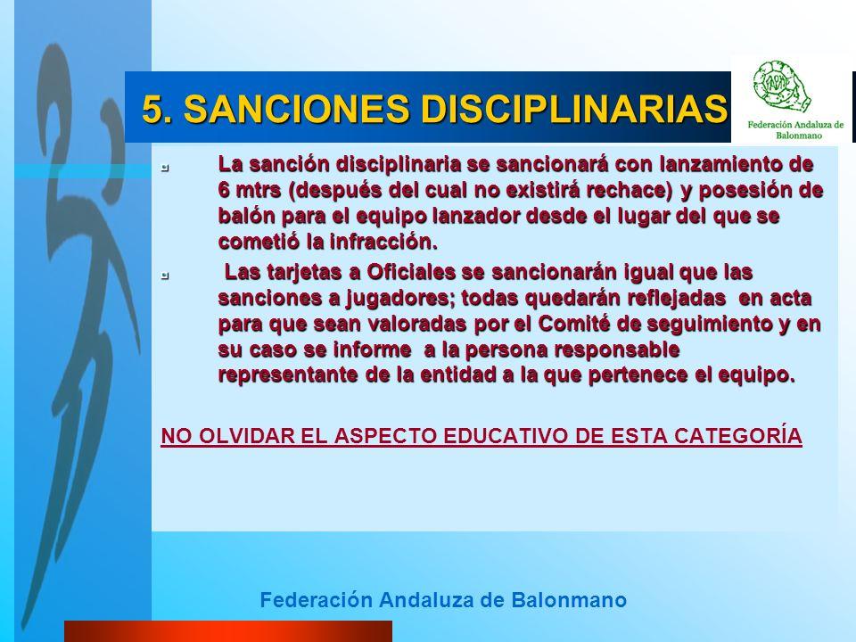 Federación Andaluza de Balonmano 5. SANCIONES DISCIPLINARIAS 5. SANCIONES DISCIPLINARIAS La sanción disciplinaria se sancionará con lanzamiento de 6 m