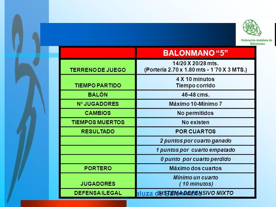 Federación Andaluza de Balonmano BALONMANO 5 TERRENO DE JUEGO 14/20 X 20/28 mts. (Portería 2.70 x 1.80 mts - 1´70 X 3 MTS.) TIEMPO PARTIDO 4 X 10 minu