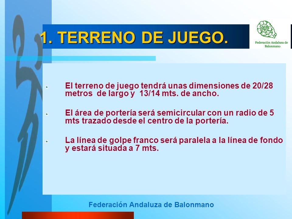 Federación Andaluza de Balonmano 1. TERRENO DE JUEGO. El terreno de juego tendrá unas dimensiones de 20/28 metros de largo y 13/14 mts. de ancho. El á