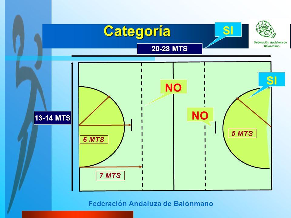 Federación Andaluza de Balonmano Categoría 5 MTS 6 MTS 7 MTS 20-28 MTS 13-14 MTS SI NO SI NO