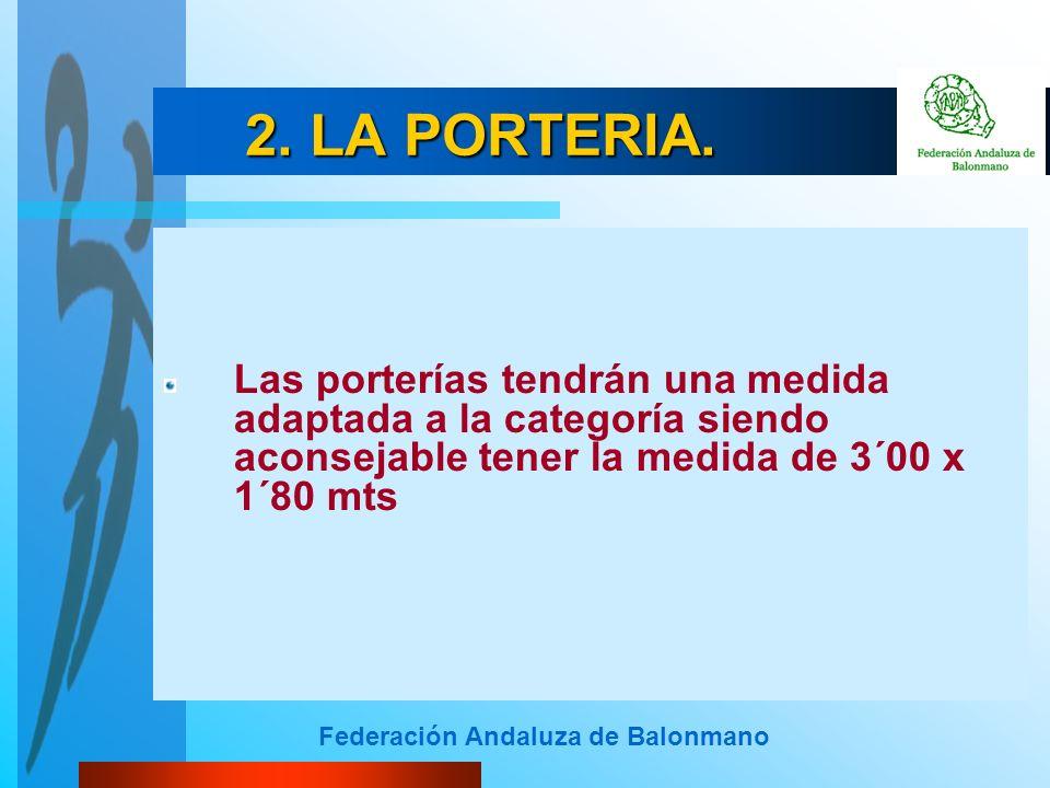 Federación Andaluza de Balonmano 2. LA PORTERIA. Las porterías tendrán una medida adaptada a la categoría siendo aconsejable tener la medida de 3´00 x