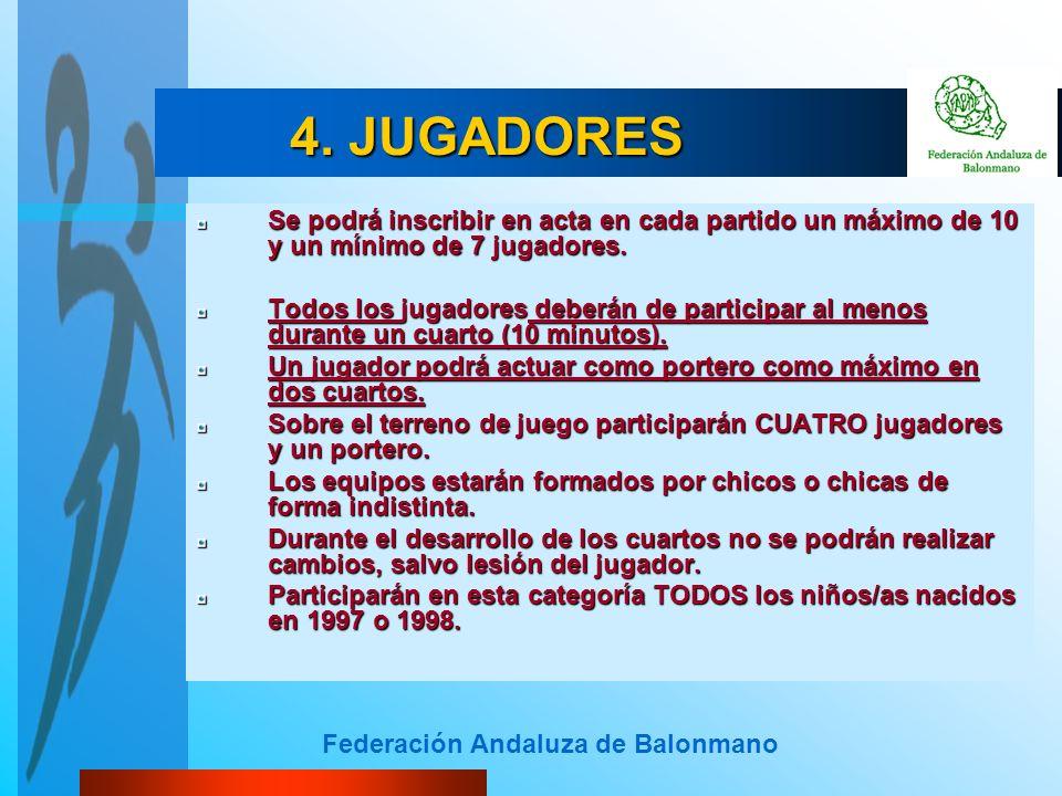 Federación Andaluza de Balonmano 4. JUGADORES Se podrá inscribir en acta en cada partido un máximo de 10 y un mínimo de 7 jugadores. Todos los jugador